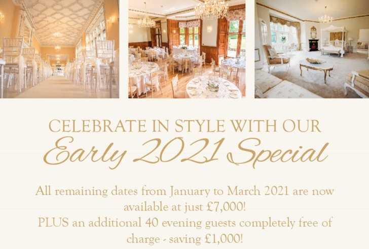Celebrate in Style with our Early 2021 Special Offer At Holmewood Hall!