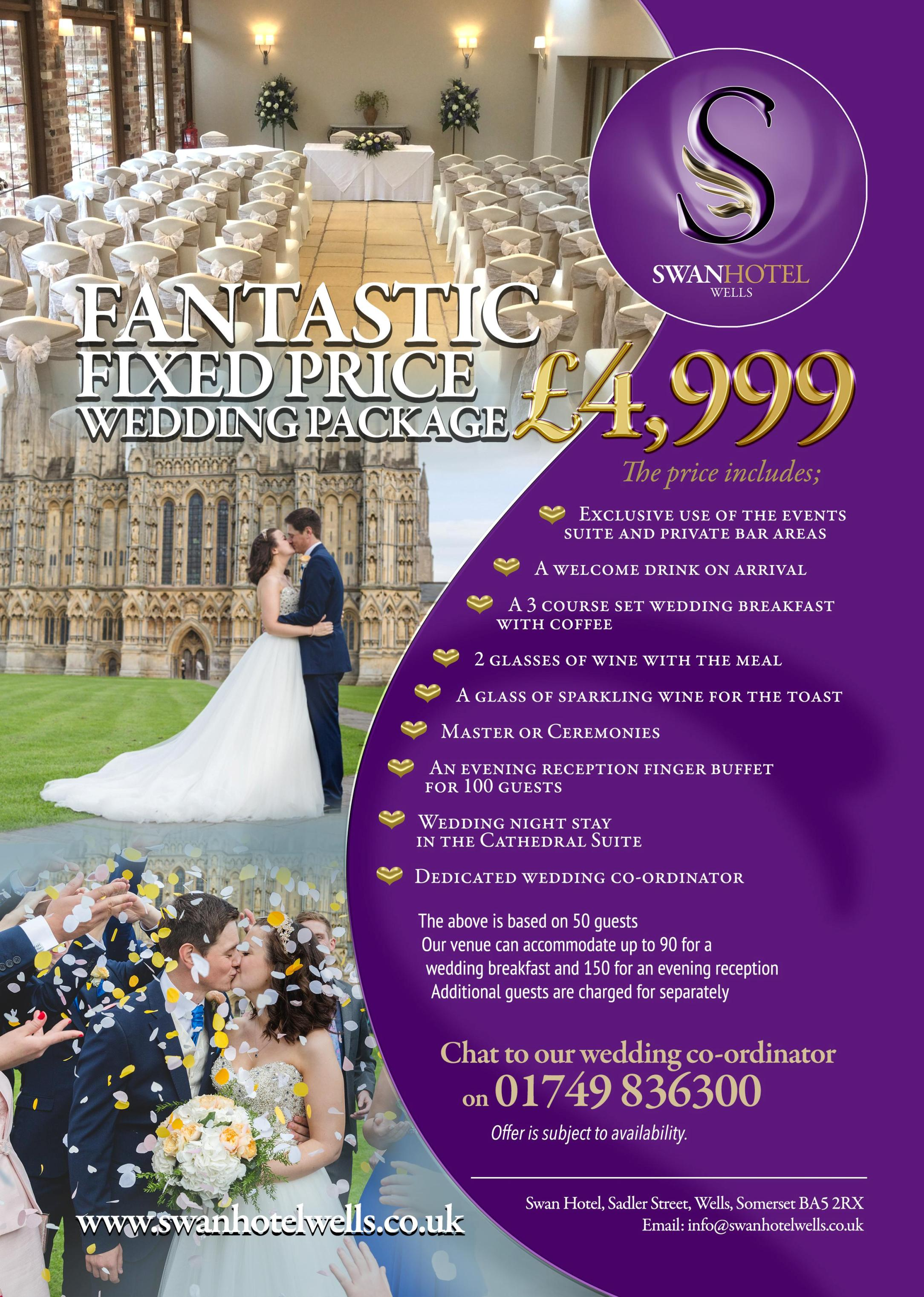 All inclusive wedding package £4,999 at The Swan Hotel Wells
