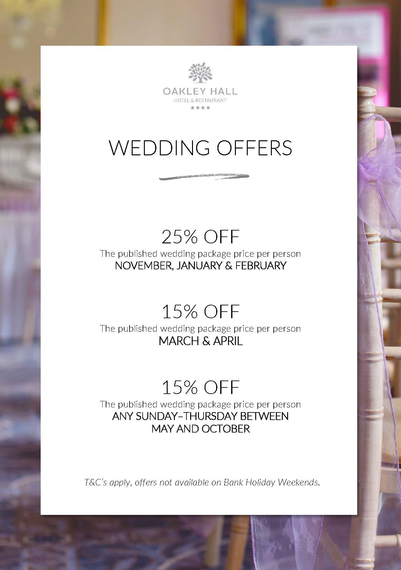 Wedding Offers at Oakley Hall