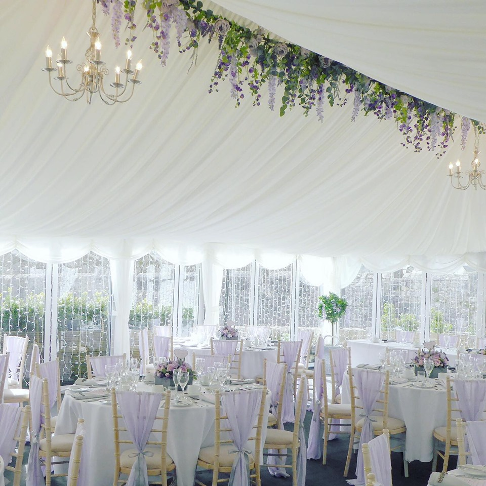 Wedding set up in marquee
