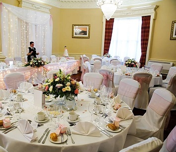 Our Ballroom set for a wedding breakfast part of the manor house package.