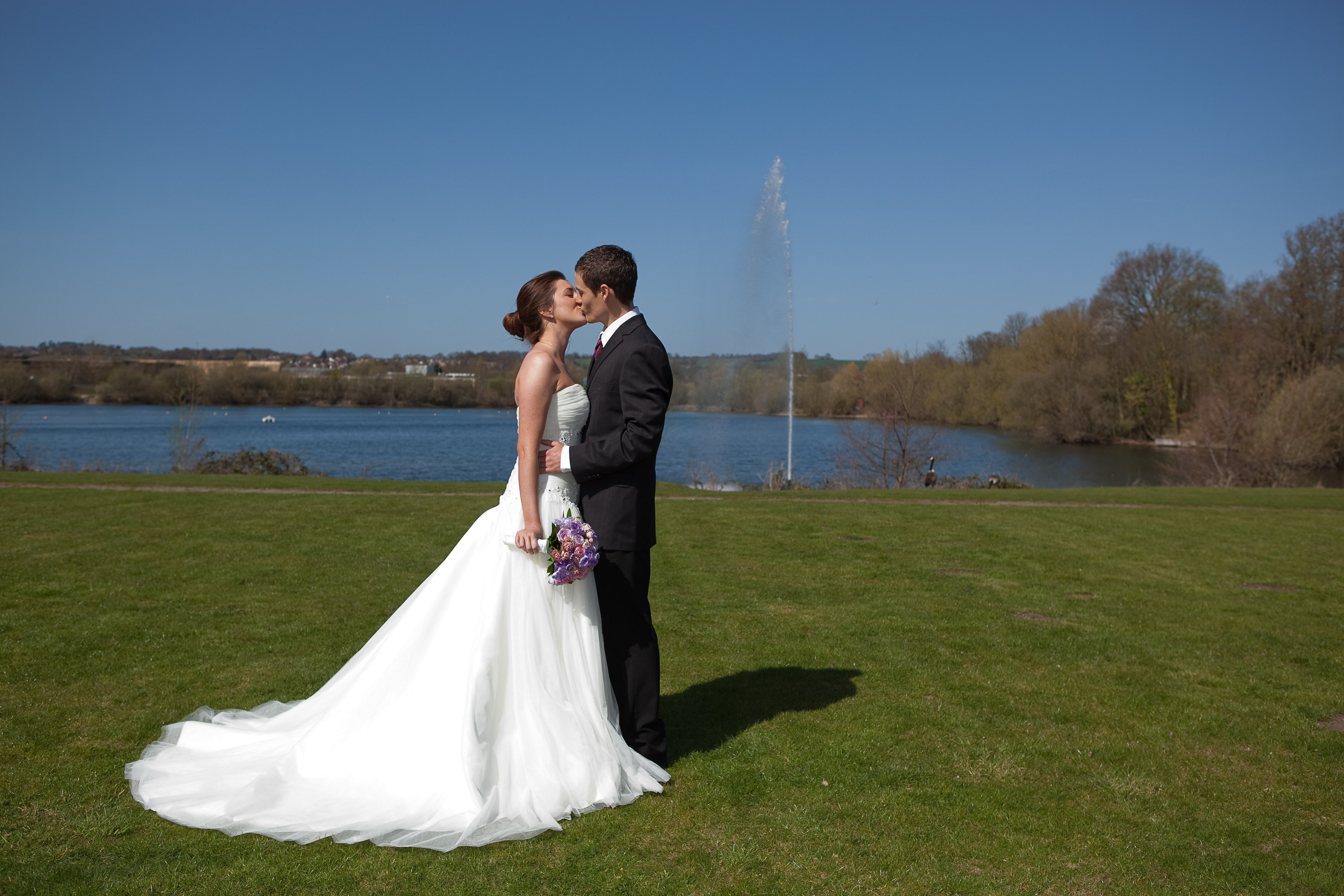 Wonderful Wedding Couple on our lawns in front of the lake