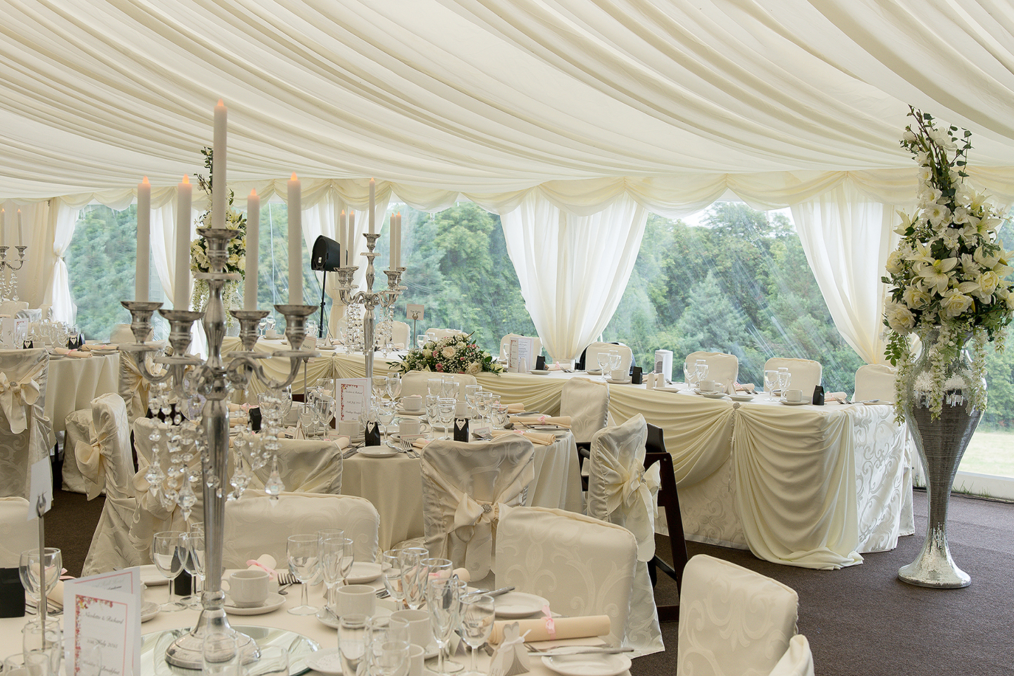 Superb Derbyshire summer garden wedding marque